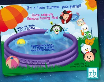 Pool Party Invitation, Tsum Tsum Party, Pool Party Birthday Invitation, Tsum Tsum Birthday, Swim Party Invitation - Digital Printable