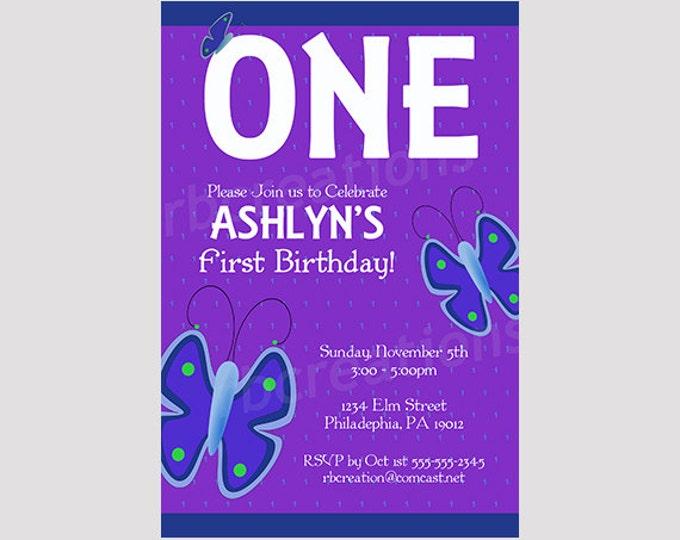 Butterfly Birthday Invitation, Butterfly Party, Butterfly Party Decorations, Butterfly Invitation, Purple Invitation - Digital Printable