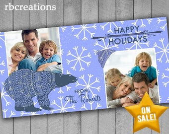 Bear Christmas Cards, Photo Christmas Card, Family Photo Christmas Cards, Snow Holiday Christmas Card, Holiday Card Printable 4