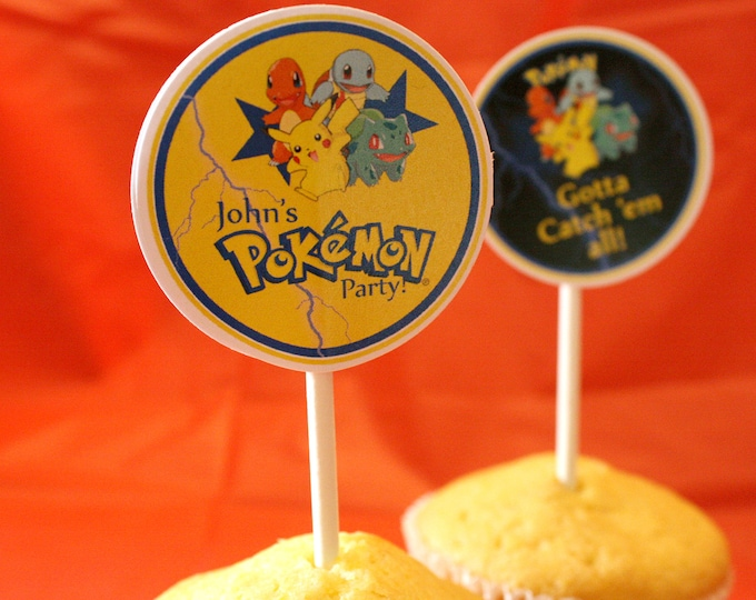 Pokemon Birthday Party Cupcake Toppers, Pokemon Party, Pokemon Cupcake topper, Pikachu Birthday, Pikachu Party- Digital Printables