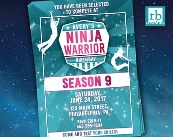 Girls Ninja Warrior Party, Girls Ninja Warrior Invitation, Girls ANW Birthday Party, Ninja Warrior Invitations - Digital Printables