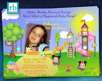 Playground Tsum Tsum Party Invitation, Tsum Tsum Invitations, Playground Birthday Party Invitations, Disney Playground - Digital Printable