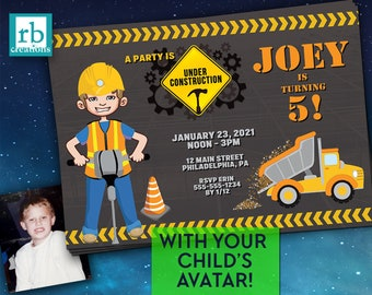 Construction Birthday Invitation Photo, WITH CHILD'S AVATAR, Construction Party, Truck Party, Under Construction - Digital Printable