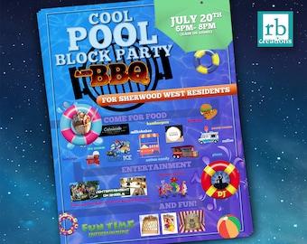 Block Party Flyer, BBQ Flyer, Pool Party Flyer, Summer Flyer, Neighborhood Party Flyer, 8.5x11 Flyer Design - Digital Printables