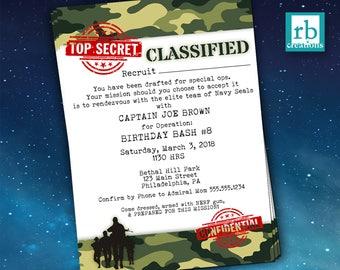 Camo Birthday Invitation Army Party Invitations Camouflage Military