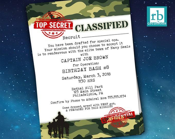 Camo Birthday Invitation, Army Party Invitation, Army Birthday, Army Birthday Party Invitations, Camouflage, Military - Digital Printables