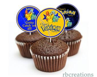 PRINTED Pokemon Birthday Party, Pokemon Cake Topper, Pokemon Cupcake topper, Pikachu Birthday, Pikachu Party - Printed Party Decorations