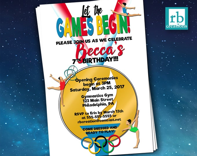 PRINTED Olympics Gymnastics Party Invitations, Gymnastics Invitation, Olympics Birthday Party - Printed Invitations w/ Envelopes