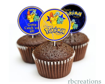 Pokemon Birthday Party Cupcake Toppers, Pokemon Party, Pokemon Cupcake topper, Pikachu Birthday, Pikachu Party- Digital Printables
