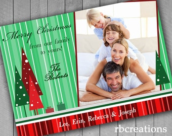 Christmas Tree Cards, Photo Christmas Card, Family Christmas Cards, Red and Green Holiday Christmas Card, Holiday Card Printable 1