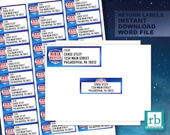 Ninja Warrior Party, Ninja Warrior Return labels, Ninja Warrior Birthday Party, Ninja Warrior Stickers, Ninja Birthday - Instant Download