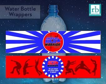 Ninja Warrior Party Water Bottle Wrappers, Ninja Warrior Birthday Party, Ninja Party - Digital Printables