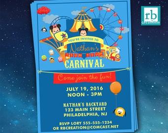 Carnival Invitations, Tsum Tsum Party, Amusement Park Party, Disney Carnival, Disney Park Invitation, Carnival Party, Digital Printables