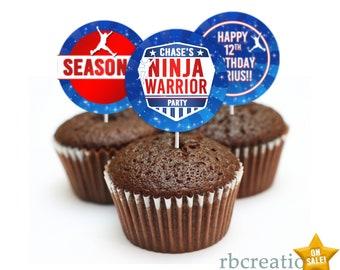 Ninja Warrior Party Cupcake Toppers, Ninja Warrior Birthday Party, Ninja Party - Digital Printables