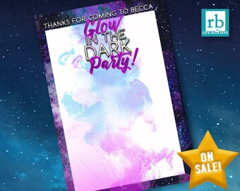 Glow in the Dark Party Thank You Card, Glow in the Dark Thank You, Glow in the Dark Birthday, Neon Party, Neon Birthday - Digital Printable