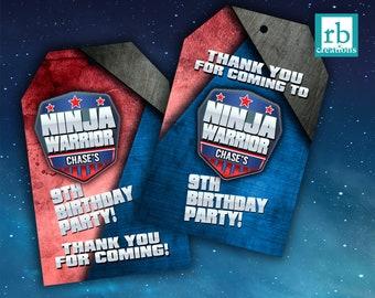 PRINTED Ninja Warrior Party Favor Tags, Ninja Warrior Birthday Party, Ninja Warrior Junior Party Favors - Printed Party Decorations