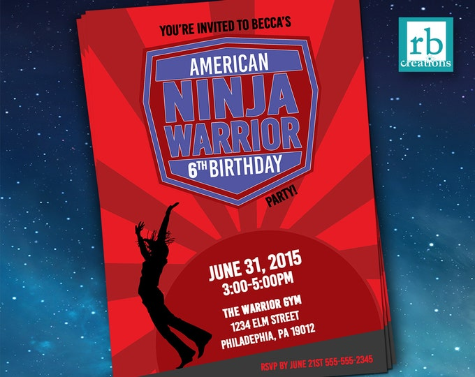 Girl Ninja Warrior Invitations, Ninja Warrior Party, ANW Birthday Party, Ninja Warrior Invitation - Digital Printables