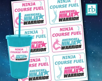 Girls Ninja Warrior Party, Ninja Warrior Stickers, ANW Birthday, Ninja Warrior Stickers, Teal and Pink - digital printable