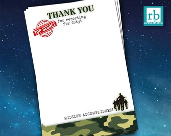 Camo Party Thank You Card, Army Thank You, Camo Birthday, Camo Party, Army Birthday, Camouflage, Military - Digital Printable