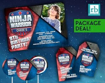 Ninja Warrior Party Package, Ninja Warrior Invitation, ANW Birthday Party, Ninja Warrior Party Package - Digital Printables