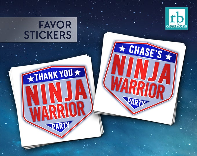 PRINTED Ninja Warrior Party Favor Stickers, Ninja Warrior Birthday Party, Ninja Party - Printed Party Decorations