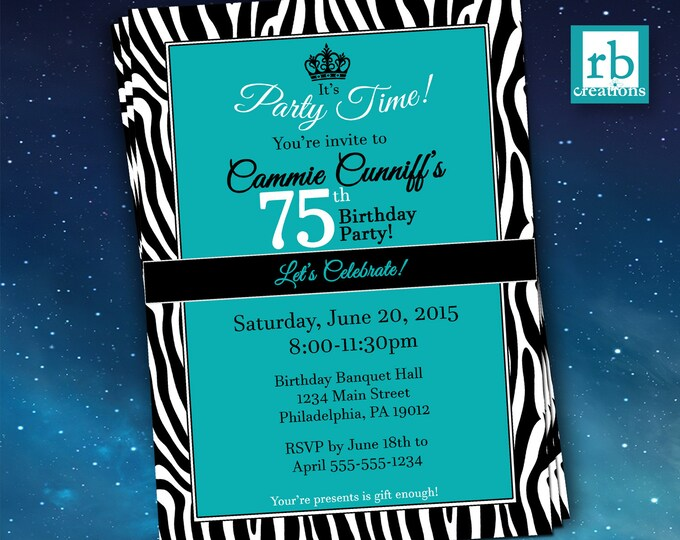 75th Birthday Invitation, Zebra Invitations, Let's Celebrate Invitation, Zebra Party, Zebra Print Invitation - Digital Printables