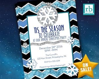 Christmas Party Invitation, Winter Wonderland Invitation, Winer Wonderland Party, Holiday Party, Christmas Card - Digital Printable
