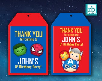 PRINTED Avenger Favor Tags, Tsum Tsum Favor Tags, Avenger Tsum Tsum Party, Marvel Favor Tags, Avenger Party - Printed Party Decorations