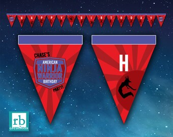 Ninja Warrior Banner, Ninja Warrior Party, Ninja Warrior Birthday Banner, ANW Party - Digital Printable
