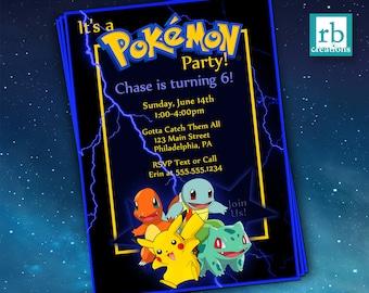 Pokemon Birthday Invitation, Pokemon Party Invitation, Pikachu Party, Pikachu Birthday, Pokeball Party Pokeball Birthday - Digital Printable