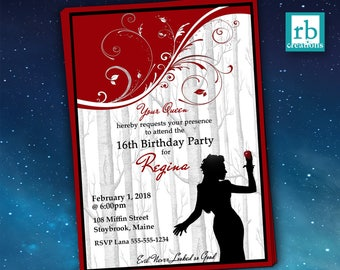 Once Upon a Time Regina, Evil Queen Birthday Invitation, Once Upon a Time Birthday, OUAT Party, Lana Parrilla - Instant Digital Printables