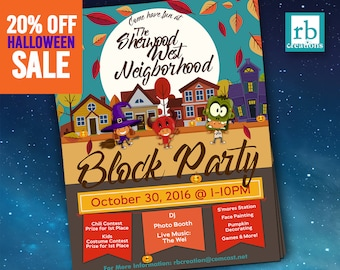 Block Party Flyer, Halloween Fall Flyer, Autumn flyer, Truck or Treat flyer, 8.5x11 Flyer Design, Flyer Design - Digital Printables