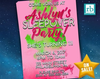 Slumber Party Invitation, Sleepover Invitation, Sleepover Birthday, Slumber Birthday Party, Sleepover Party Invitation  - Digital Printable