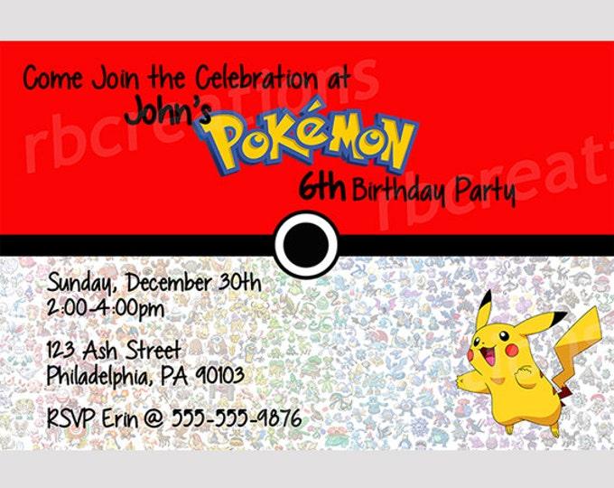Pokemon Birthday Party Thank You Note, Pokemon Party, Pikachu Party, Pikachu Birthday, Pokeball Party Pokeball Birthday - Digital Printable