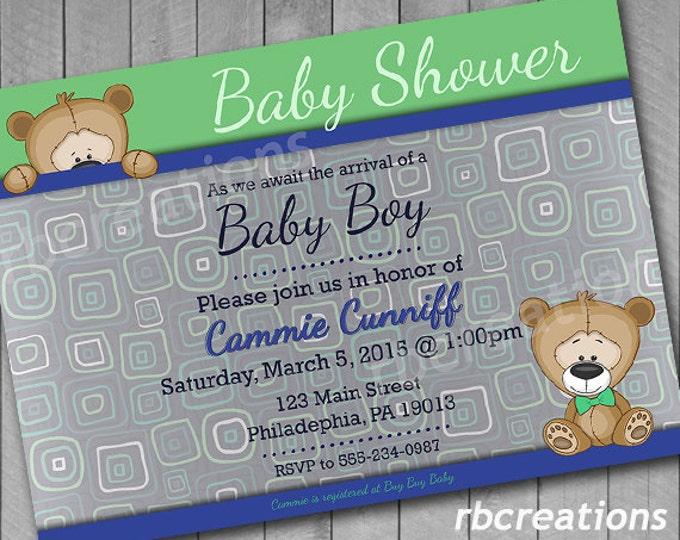 Bear Baby Shower Invitation, Baby Shower Invites, Baby Shower Invitation Boy, Baby Shower Decorations, Bear Invitation - Digital Printable