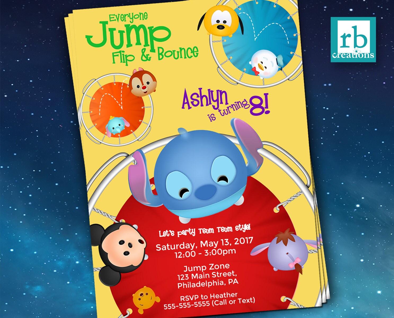 Trampoline Tsum Tsum Party Invitation, Tsum Tsum Invitations, Jump ...