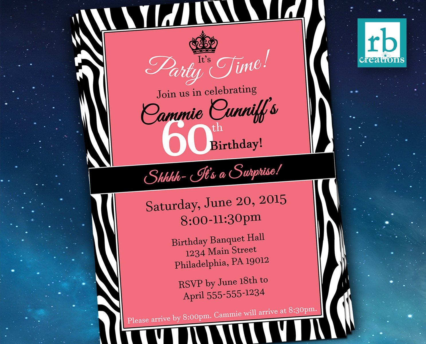 Surprise Party Invitations, Zebra Invitations, Zebra Party, Adult Birthday  Invitations, 50th Birthday, 60th Birthday - Digital Printables