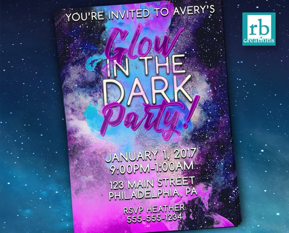 Glow In The Dark Party Invitations Birthday Neon