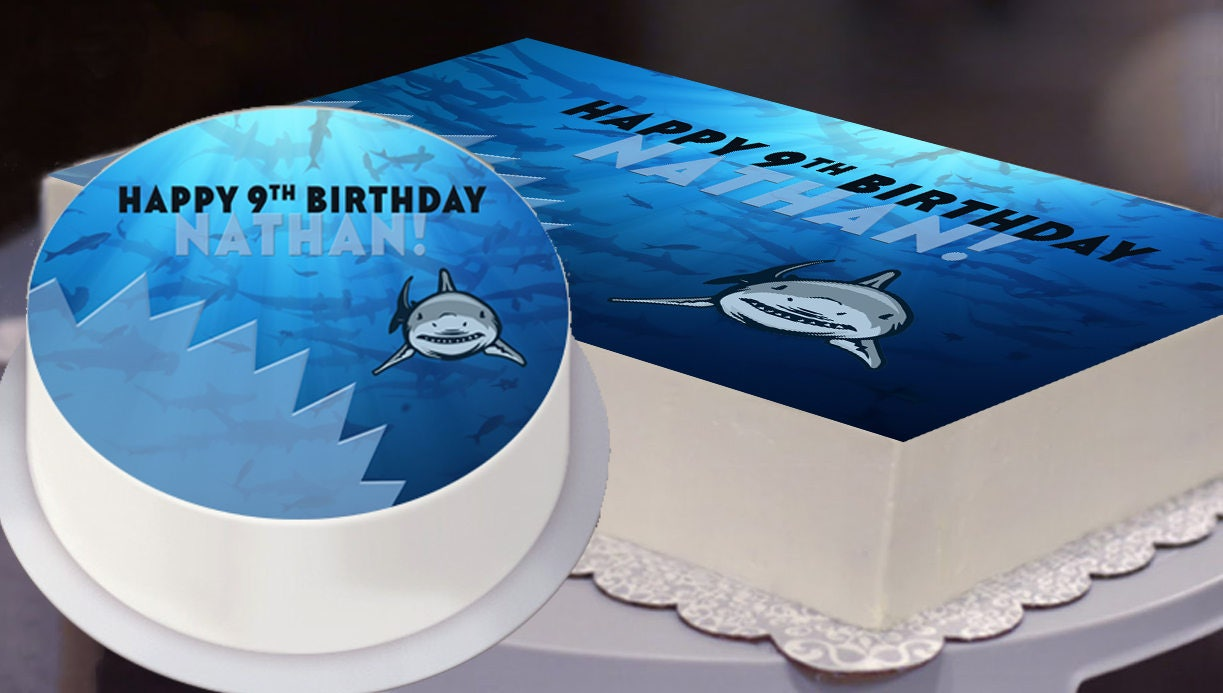 Sensational Shark Party Edible Cake Topper File Shark Party Cake Topper Funny Birthday Cards Online Barepcheapnameinfo