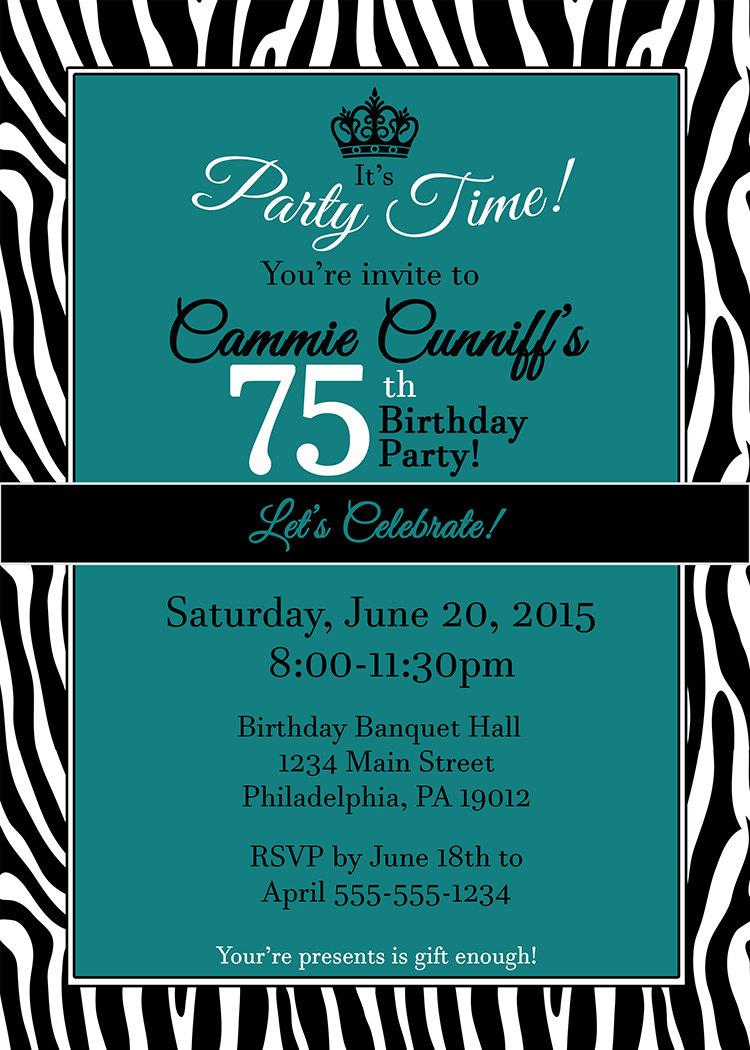 75th Birthday Invitation Zebra Invitations Lets Celebrate