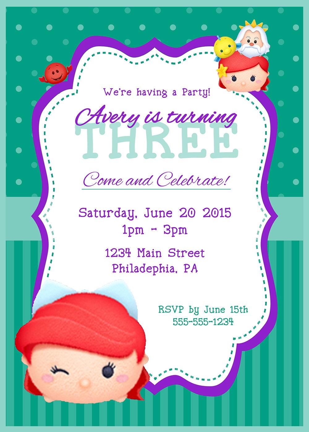 Little Mermaid Tsum Tsum Birthday Invitation, Tsum Tsum Party ...