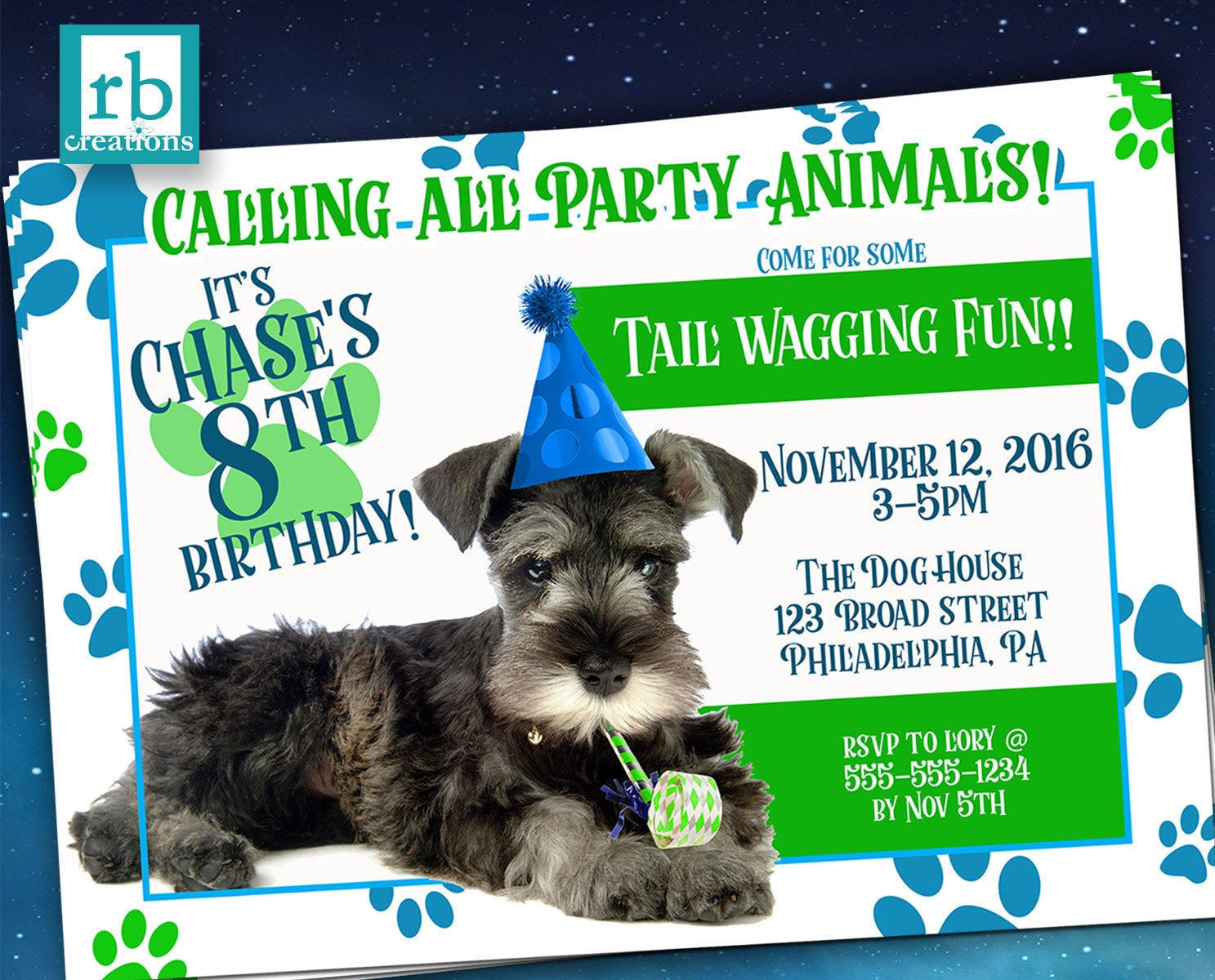 Puppy Party Invitation Birthday