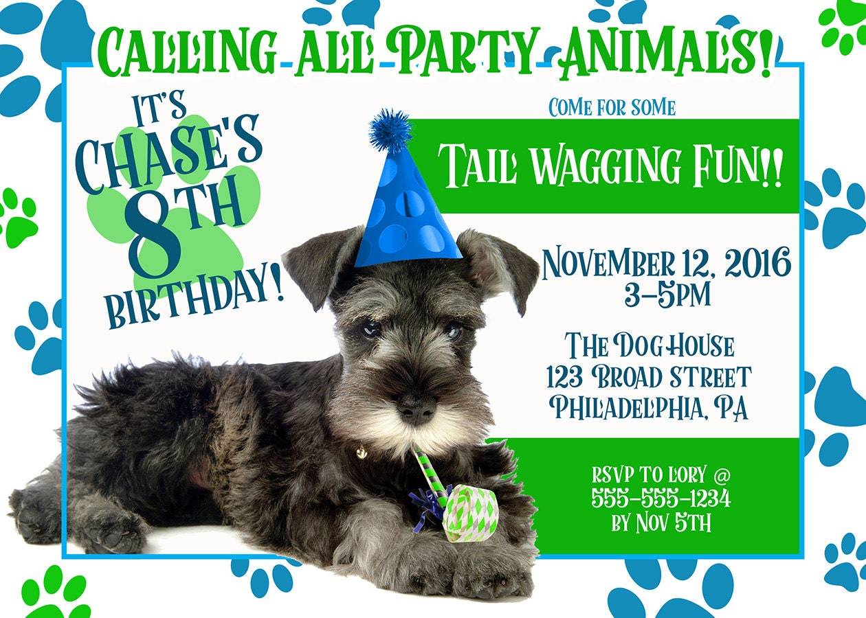 Puppy Party Invitation Birthday Invites Dog Animal