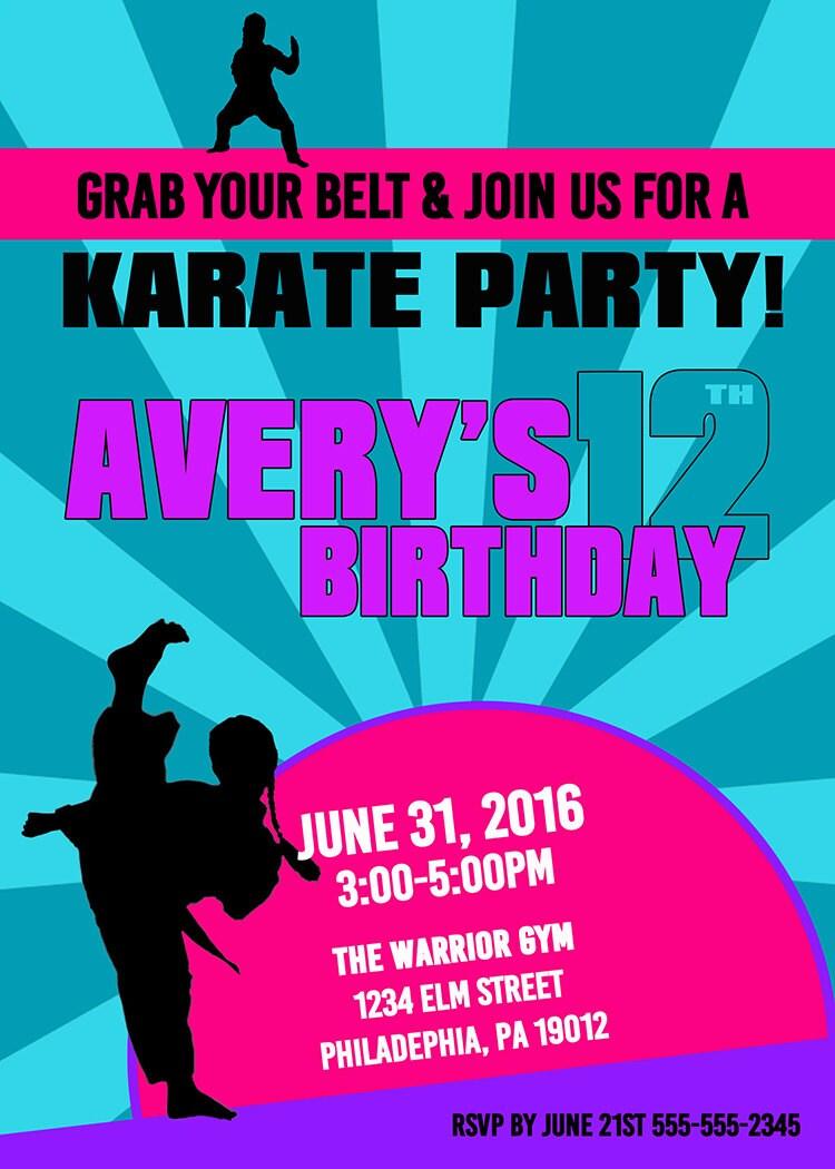Karate Birthday Invitations, Girl Karate Invitation, Karate ...