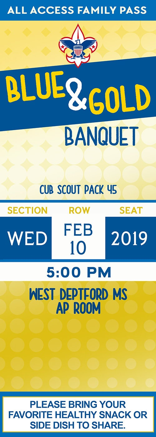 Blue & Gold Banquet Invitation, Boy Scouts Event, Blue and Gold