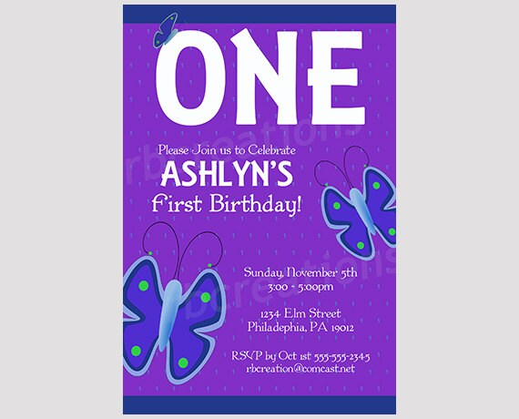 Butterfly Party Decorations Invitation Purple