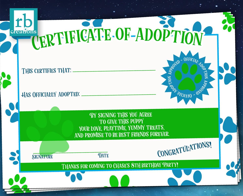 Puppy Party Adoption Certificate Puppy Birthday Puppy Birthday
