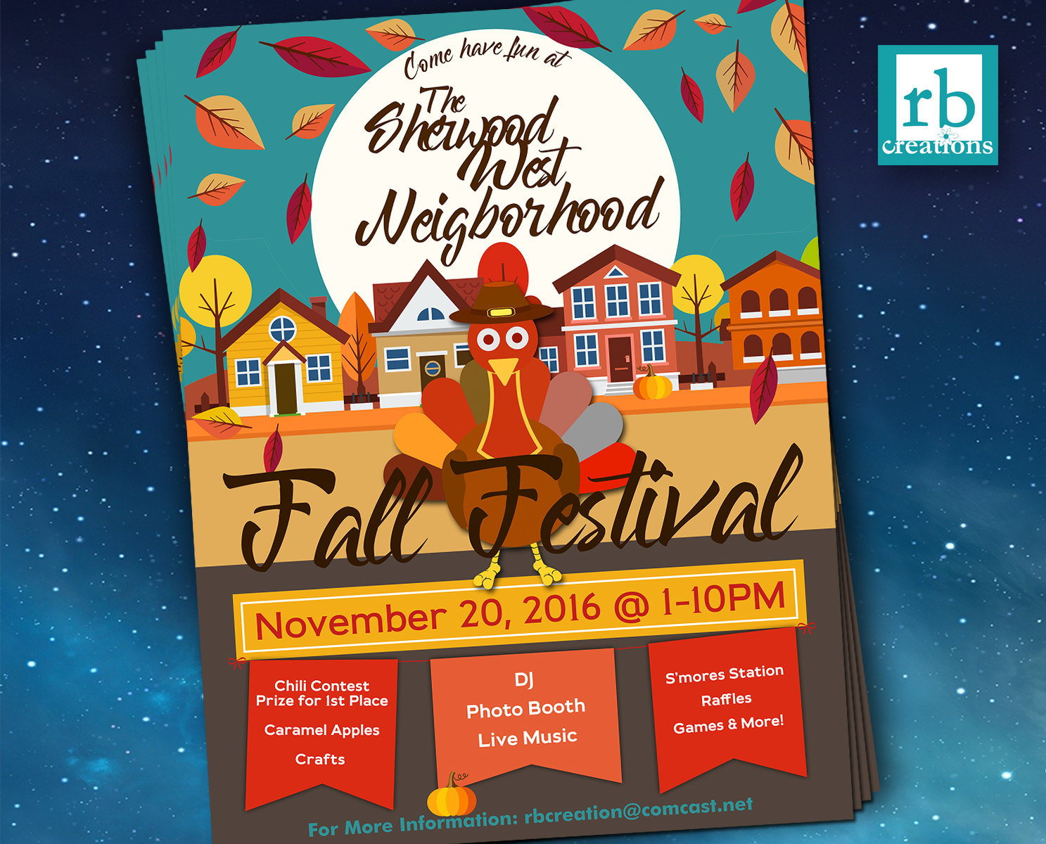 Block Party Flyer, Fall Festival Fall Flyer, Autumn flyer ...