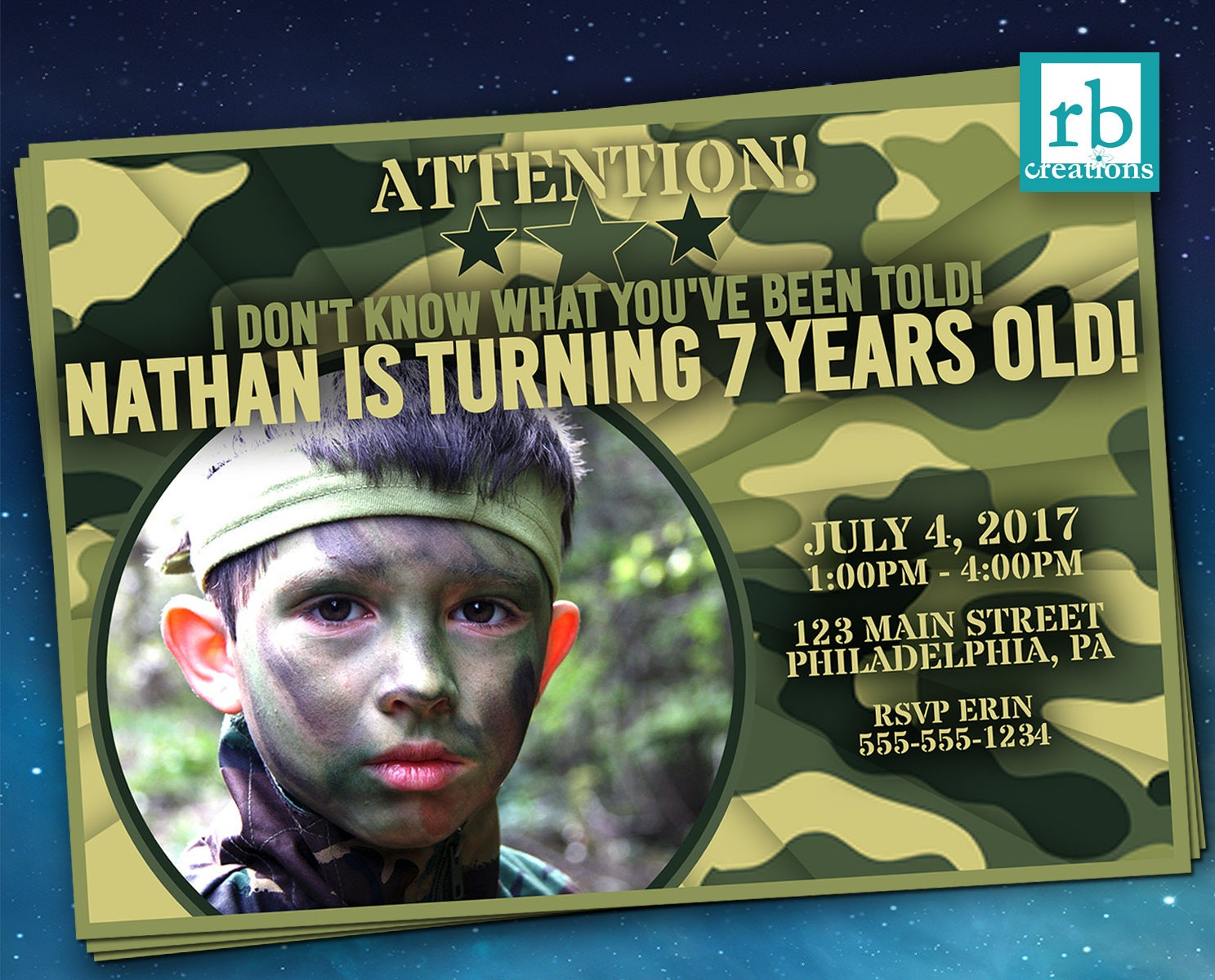 Camo Birthday Invitation, Army Party Invitation, Army Birthday, Army ...