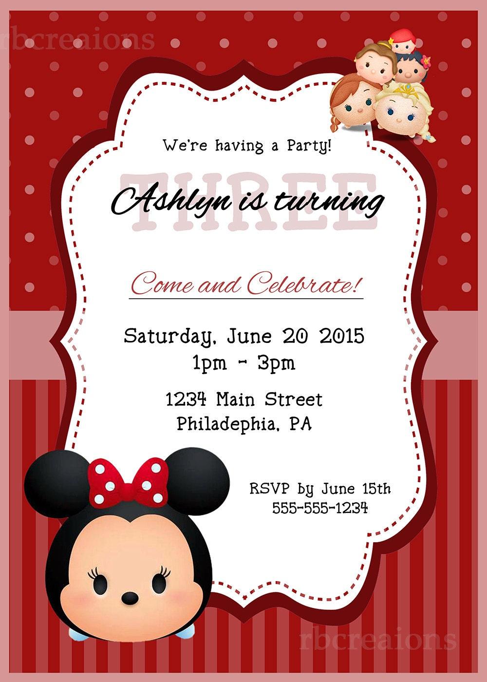 Minnie Mouse Tsum Tsum Party Invitations, Tsum Tsum Party, Tsum Tsum ...